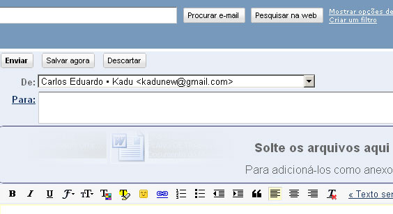 Gmail, anexando arquivos