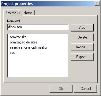 adicionando palavras-chave