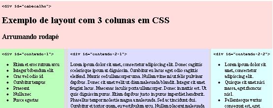 Layout CSS com 3 colunas
