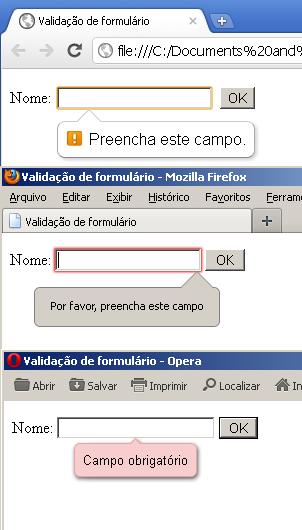 mensagem de alerta em diferentes navegadores