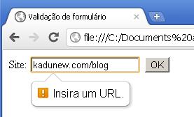 Exemplo validação de url com HTML5
