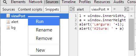 Rodando snippets no navegador