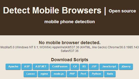 Site com Scripts para detectar o dispositivo do usuário