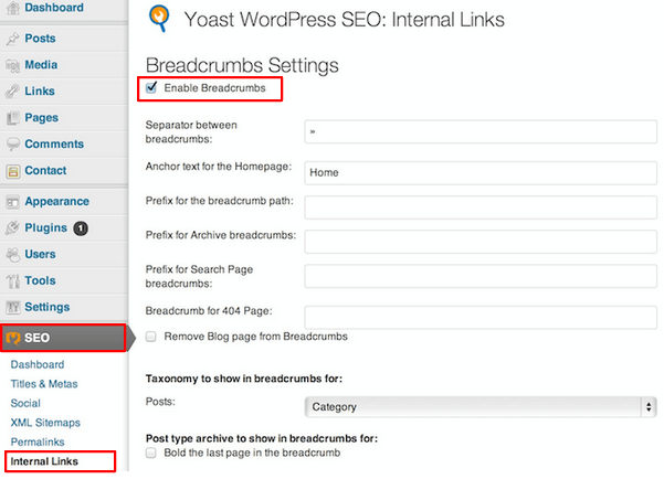 Ativando Breadcrumbs no Plugin Yoast WordPress SEO
