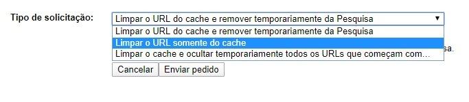Ferramenta remover cache do Google