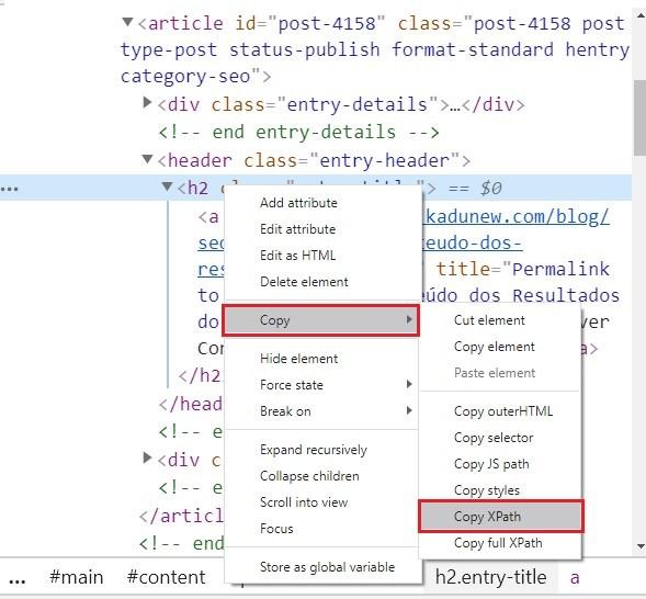 extração XPath Chrome
