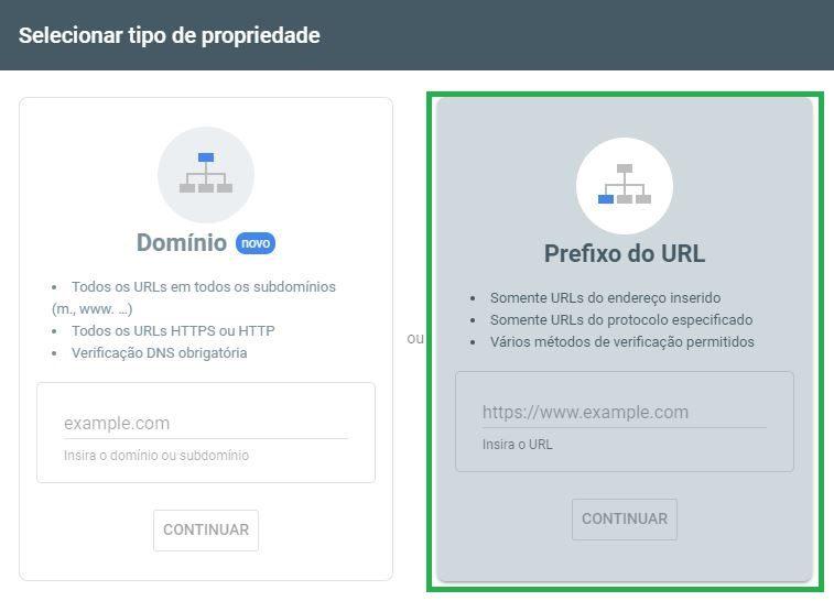 Adicionando Prefixo de URL Search Console